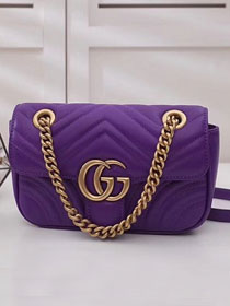 GG original calfskin mini marmont matelasse bag 446744 purple