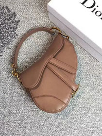 2018 Dior original calfskin mini saddle bag M0447 nude