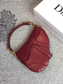 2018 Dior original calfskin mini saddle bag M0447 red