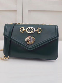 GG original calfskin medium tiger head shoulder bag 537241 green