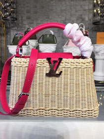2018 louis vuitton original bamboo rattan capucines BB m55009 rose red