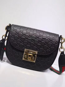 GG original calfskin padlock medium shoulder bag 453189 black