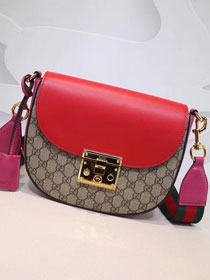 GG original calfskin padlock medium shoulder bag 453189 red