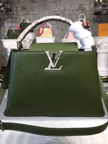 Louis vuitton original taurillon leather capucines pm N93799 green