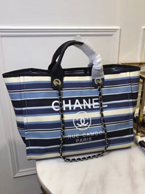 2018 CC original canvas large shopping tote bag A66941 blue&navy blue