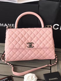 2018 CC original grained calfskin flap bag with top handle A92991 pink