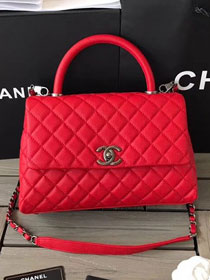 2018 CC original grained calfskin flap bag with top handle A92991 red