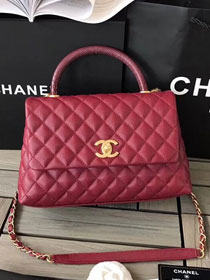 2018 CC original grained calfskin flap bag with top handle A92991 wine red