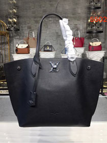 2019 louis vuitton original calfskin lockme cabas tote m55028 black