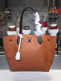 2019 louis vuitton original calfskin lockme cabas tote m55028 brown
