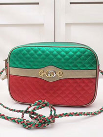 2018 GG original laminated leather small shoulder bag 541061 red&green