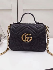 2019 GG marmont original calfskin mini top handle bag 547260 black