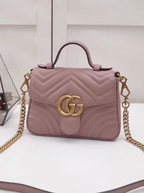 2019 GG marmont original calfskin mini top handle bag 547260 nude