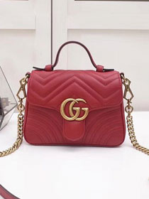 2019 GG marmont original calfskin mini top handle bag 547260 red