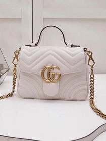 2019 GG marmont original calfskin mini top handle bag 547260 white