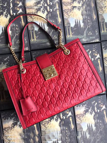 2018 GG original calfskin padlock medium tote bag 479197 red