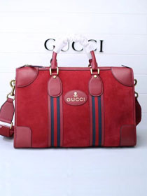 2018 GG orignal suede courrier soft supreme duffle bag 459311 red