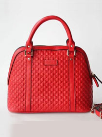 2019 GG original signature calfskin top handle bag 449663 red