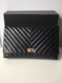 2019 CC original aged calfskin clutch A91795 black