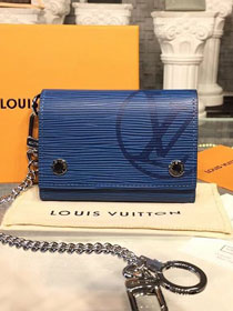 Louis vuitton epi leather rivets chain wallet M63518 blue