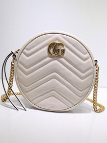 2019 GG marmont original calfskin mini round shoulder bag 550154 white