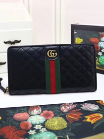 GG original calfskin zip around wallet with Double G 536450 black
