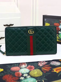 GG original calfskin zip around wallet with Double G 536450 green