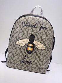 GG original canvas bee print supreme large backpack 419584 black