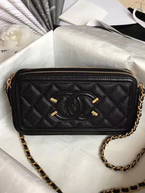 CC original grained calfskin classic clutch with chain A81985 black