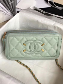 CC original grained calfskin classic clutch with chain A81985 light green