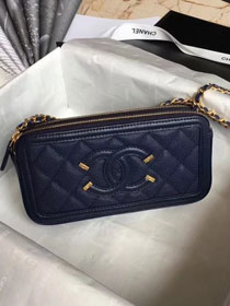 CC original grained calfskin classic clutch with chain A81985 navy blue
