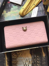 GG original calfskin Signature zip around wallet with cat 548058 pink