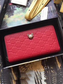 GG original calfskin Signature zip around wallet with cat 548058 red