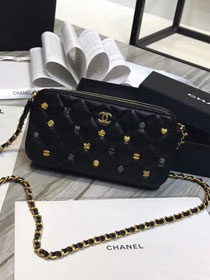 2019 CC original lambskin clutch with chain A81616 black