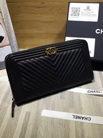 CC original calfskin boy chanel zipped wallet A80288 black