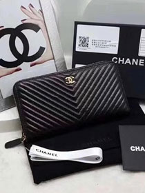 CC original calfskin boy chanel zipped wallet A80289 black
