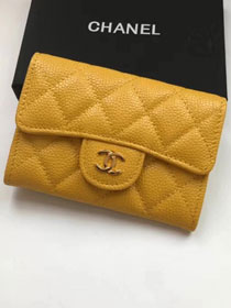 CC original calfskin classic card holder A80799 yellow