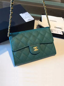 CC original calfskin classic clutch with chain A84512 green