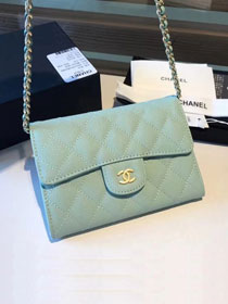 CC original calfskin classic clutch with chain A84512 light blue