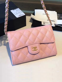 CC original calfskin classic clutch with chain A84512 pink