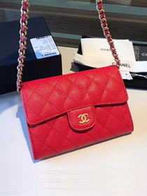 CC original calfskin classic clutch with chain A84512 red