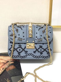 Valentino original embroidered calfskin small chain shoulder bag 0312 blue