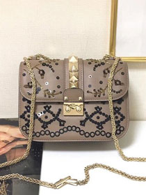 Valentino original embroidered calfskin small chain shoulder bag 0312 grey