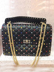 Valentino original lambskin multi-rockstud large chain bag 0121 black