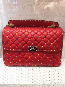 Valentino original lambskin multi-rockstud large chain bag 0121 red