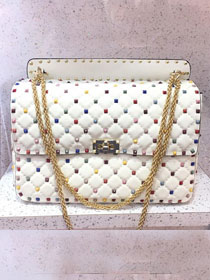 Valentino original lambskin multi-rockstud large chain bag 0121 white