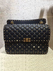Valentino original lambskin rockstud large chain bag 0121 black