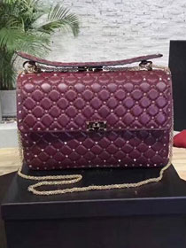 Valentino original lambskin rockstud large chain bag 0121 burgundy
