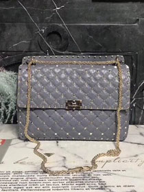 Valentino original lambskin rockstud large chain bag 0121 grey