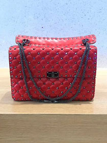 Valentino original lambskin rockstud large chain bag 0121 red